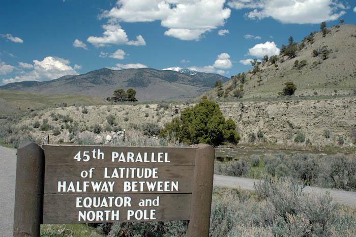 Le 45e parallèle dans le parc de Yellowstone