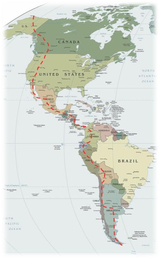 Tracé Alaska-Patagonie
