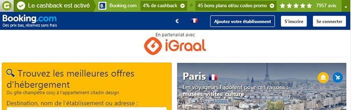 4% de cashback Igraal sur booking.com