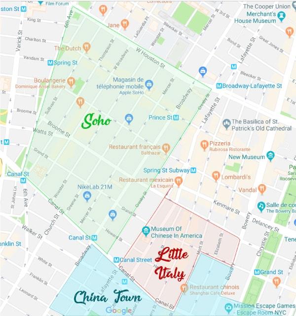 Les quartiers Soho, Little Italy et China Town à New York