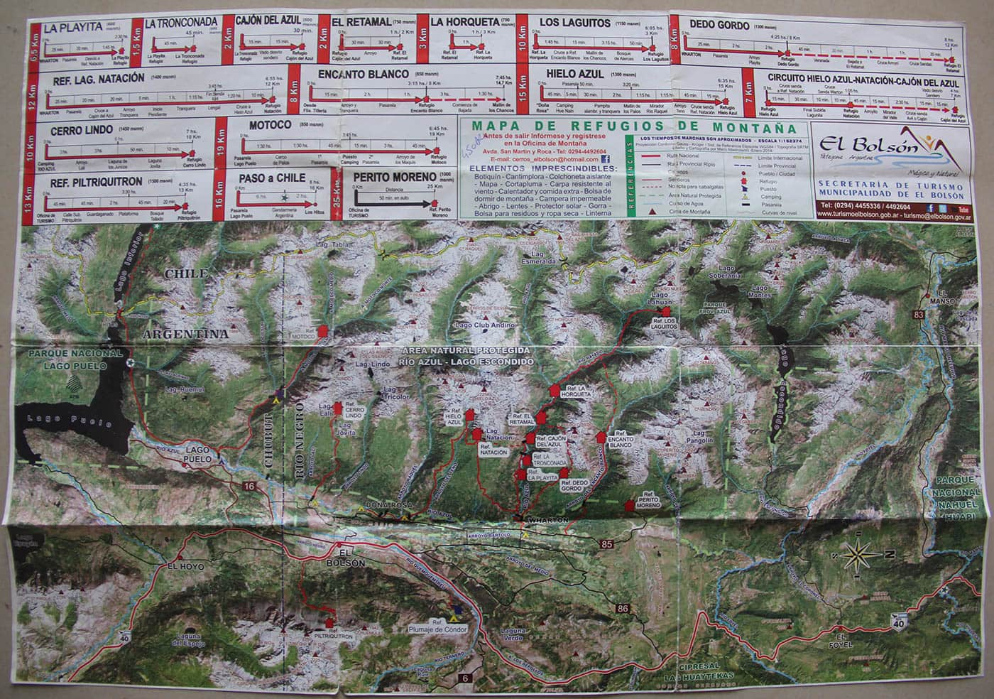 Carte des trekkings à El Bolson