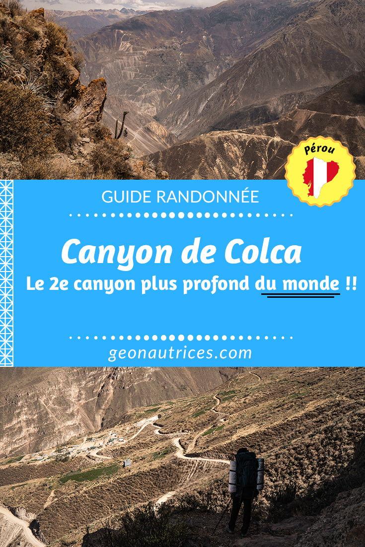 Randonner dans le Canyon de Colca, le 2e canyon le plus profond du monde ! Un trek vertigineux de 2 jours ou plus ! Que vous le faites avec une agence ou en totale autonomie, nous vous donnons tous les détails pour faire le trek du Canyon de Colca au Pérou ! #colca #canyon #randonnee #trek #aventure #bivouac #travel #voyage #perou #arequipa