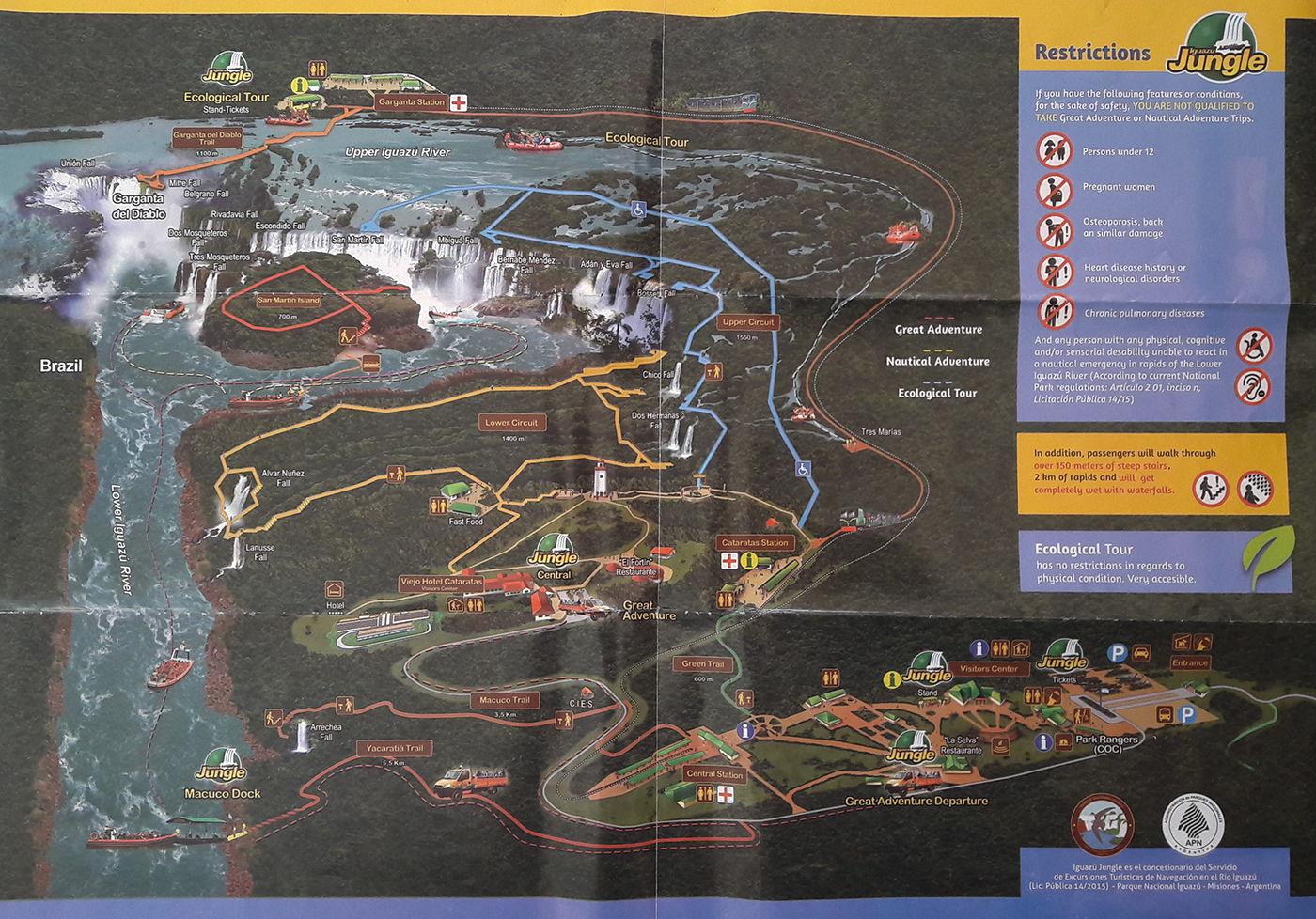 Plan des chutes d'Iguazu coté Argentine
