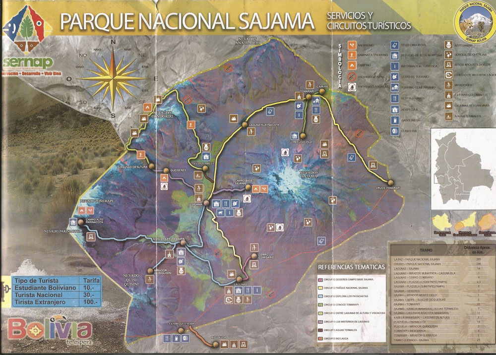 Plan du parc national de Sajama