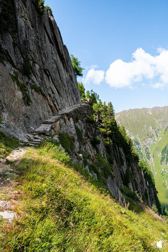 Sentier après refuge près du glacier du Trient