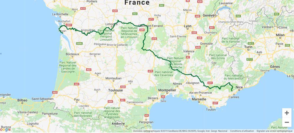 Itinéraire du GR4 fait par Ariane