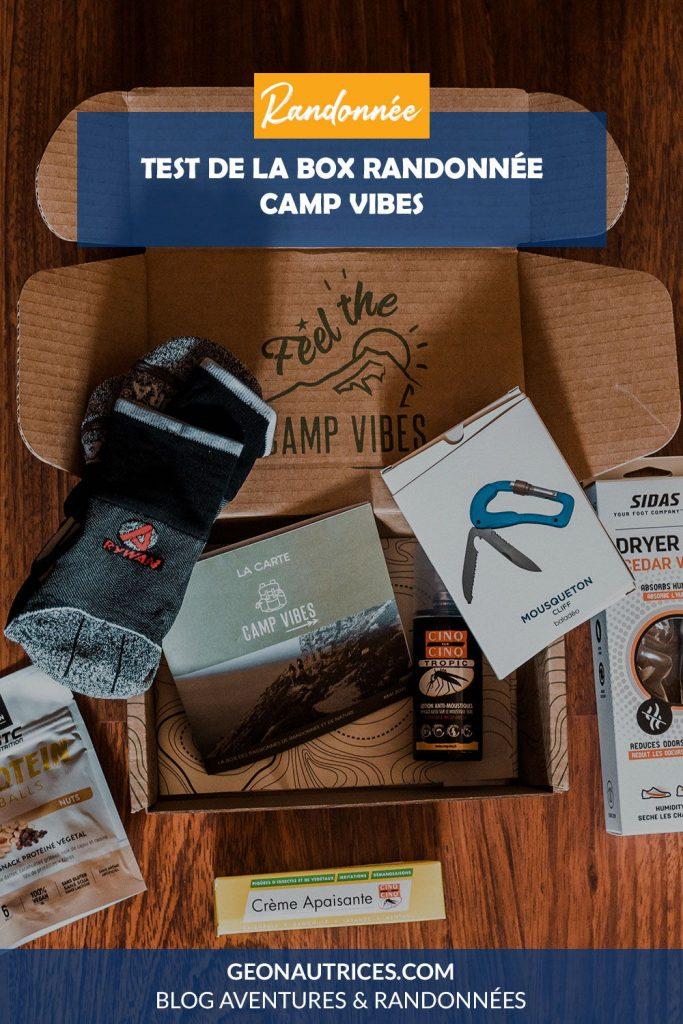 Test de la box randonnée Camp Vibes, une box bimensuelle pour les randonneurs.
